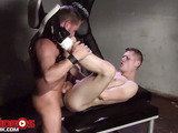 Handsome dude masturbating inside a cage then sucks a mohawk hunk's dick before he licks his ass then he gets his asshole ripped as he bounces on his cock before letting him fuck him in multiple positions.