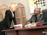 Chic mama in hot black suit gets fucked on office table and takes cum in mouth