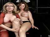 Sexy milf in glasses and red mesh outfit fuck chubby babe panties with strap-on