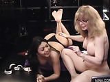 Beautiful hot brunette in black lingerie gets her pussy finger fucked by hot milf
