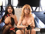 Sweet milf in glasses helps tasty young brunette play with sexy tits and pussy