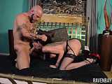 Nasty brunette chick in fishnet stockings gets her cunt and mouth fucked by an inked bald dude