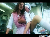 Horny cook in Chef's hat eating out his red assistant and fucking her in the kitchen