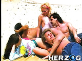 Cool group fuck on the nudist beach and blonde slut gets banged in the garden