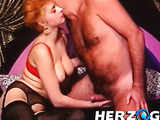 Vintage foxy bitch in nylons and red dress licking dude's asshole and blowing him