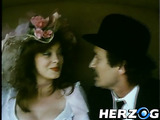 Beautiful vintage dame in a hat with flowers gets her bushy twat licked and poked hard