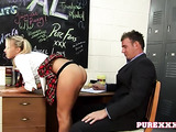 Dirty pigtailed blonde college girl seduced her teacher for sex in the locker room