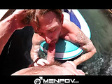 Poolside foreplay for a couple of guys in bikini swimwear which is taken to the bedroom for some anal.