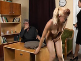 Naugthy blonde lays naked on a desk with both her legs raised up while she lets her stepmother leave some lashes on her ass as she whips it with a leather belt then a cute young babe bends over then gets her booty spanked with a wooden stick giving it som