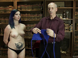 Beautiful slut with blue hair and a dude demonstrate the art of decorative bondage.