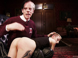 Incredible gal in black stockings and a guy demonstrate impact play.