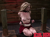 Poor blonde chick in a red dress gets enchained and gagged for rough face-fucking