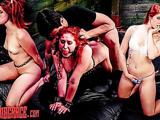 gagged inked redhead bondage