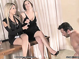 Naked dude serving blonde and brunette bombshells in sexy dresses