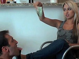 Dirty femdom from blonde hottie in jeans with feet worship