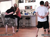Blonde and brunette hoes in high heels jeering two nerds who get high from foot fetish and femdom