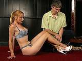 Sexy blonde beauty feels the power of male domination