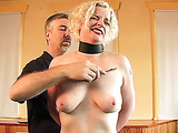 Blonde hooker in stockings handcuffed, spanked and tortured