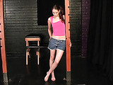 Cutie has to take off her pink T-shirt and jeans shorts