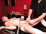 Naked angel tied to table wants to get her pussy caressed