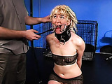Blonde amateur gets a crazy gag in her hungry mouth