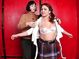 Chubby MILF is playing the role of obedient schoolgirl