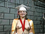 Busty alumna survived all the dirty actions of an old maniac