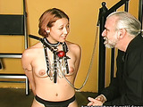 Graybeard used the powerful vibrator to please the tied girl