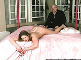 Plump young lady allows old man to do everything he wants
