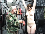 Snow-white skin chick gets bondaged in BDSM action