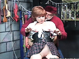 Slutty redhead enjoys bondaging and hanging actions