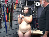 Chubby teen takes part in old torturer's BDSM games
