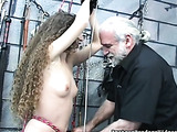 Curly-haired honey got tied up and whipped by old pervert