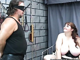 Full-bosomed madame got her nipples clamped by metal clip