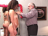 Two absolutely naked babes enjoy fun time with old guy