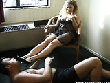 Blonde buxom trmpling guy's face and body with high heels and bare feet