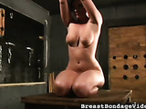 Red-haired floozy with bound natural tits and sweet hips
