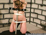 Hot suspension action after tits bondage for an amateur bitch