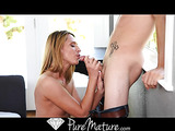 Blonde MILF with small tits fingering her creampied cunt after fucking with lad in a hat