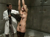 Blonde bitch in stockings gets tied up and punished