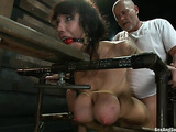 Brunette babe with big boobies gets nailed by her master