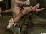 Submissive brunette gets nailed by her freaky partner
