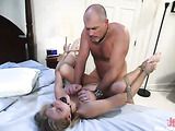 Big boobed blonde slut gets tied to the bed and rammed