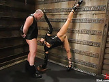Dark haired slut gets tied up and pleased by her hunky man