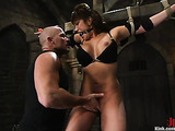 Tied up brunette with a big ass enjoys in rough anal