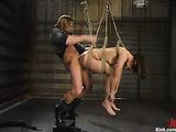 Brunette slut in black latex suit gets rammed by her master