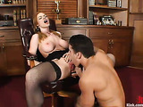 Curvy redhead bitch gets nailed in the office so hard