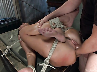 hogtied cutie sucks big