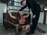 Tied up brunette sweetie gets rammed by a porno stud