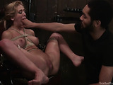 Blonde bitch gets blindfolded and fucked by her black partner